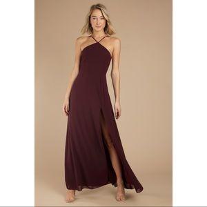 Tobi • Wine Lace Up Maxi Dress